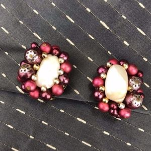 Vintage Pearly, Rosy, Clip Earrings